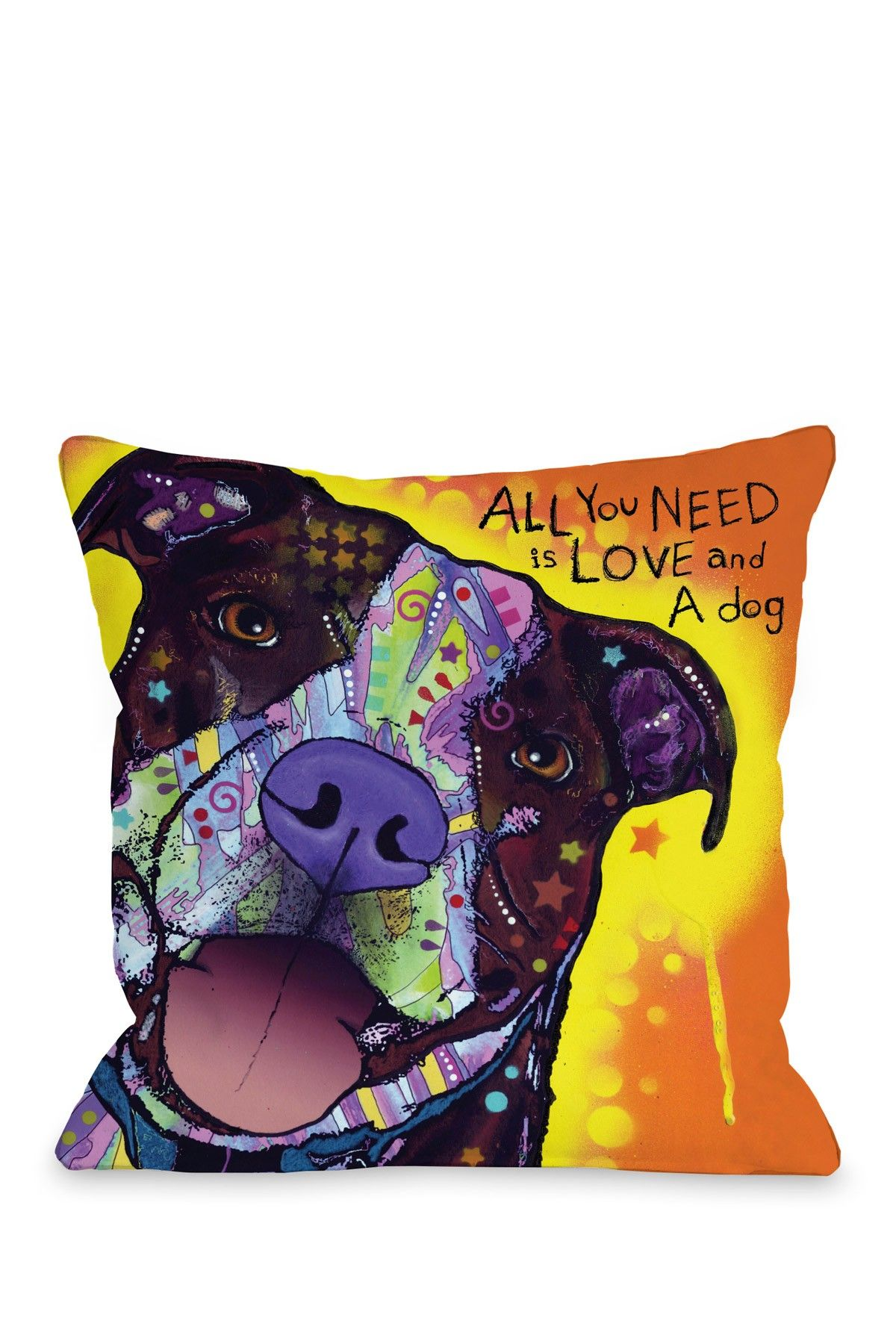 "Pet Pop Art From Dean Russo Daisy Pit with Text 18"" Pillow with Zipper $35.00"