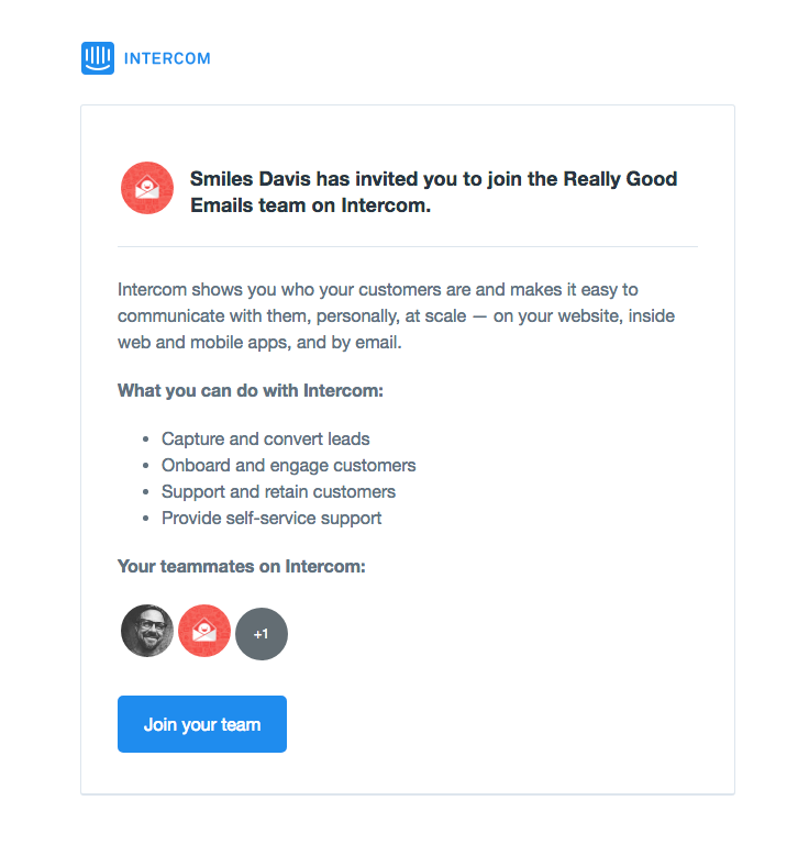 Intercom Sent This Email With The Subject Line Smiles Davis Has Invited You To Work Together On Intercom Read About This Email And Fin Invitations Best Email