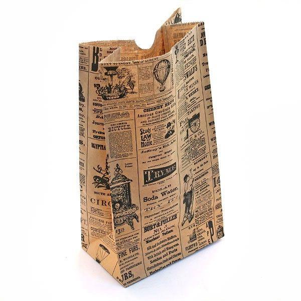 fa8948e6686 Victorian Newspaper Printed Block Bottom Bags - pack of 10 - Pipii - £4.50