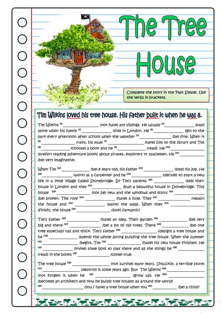 The Tree House Part 1 Worksheet Free Esl Printable Worksheets Made By Tea Teaching English Grammar Reading Comprehension Lessons English Grammar Worksheets [ 1079 x 763 Pixel ]