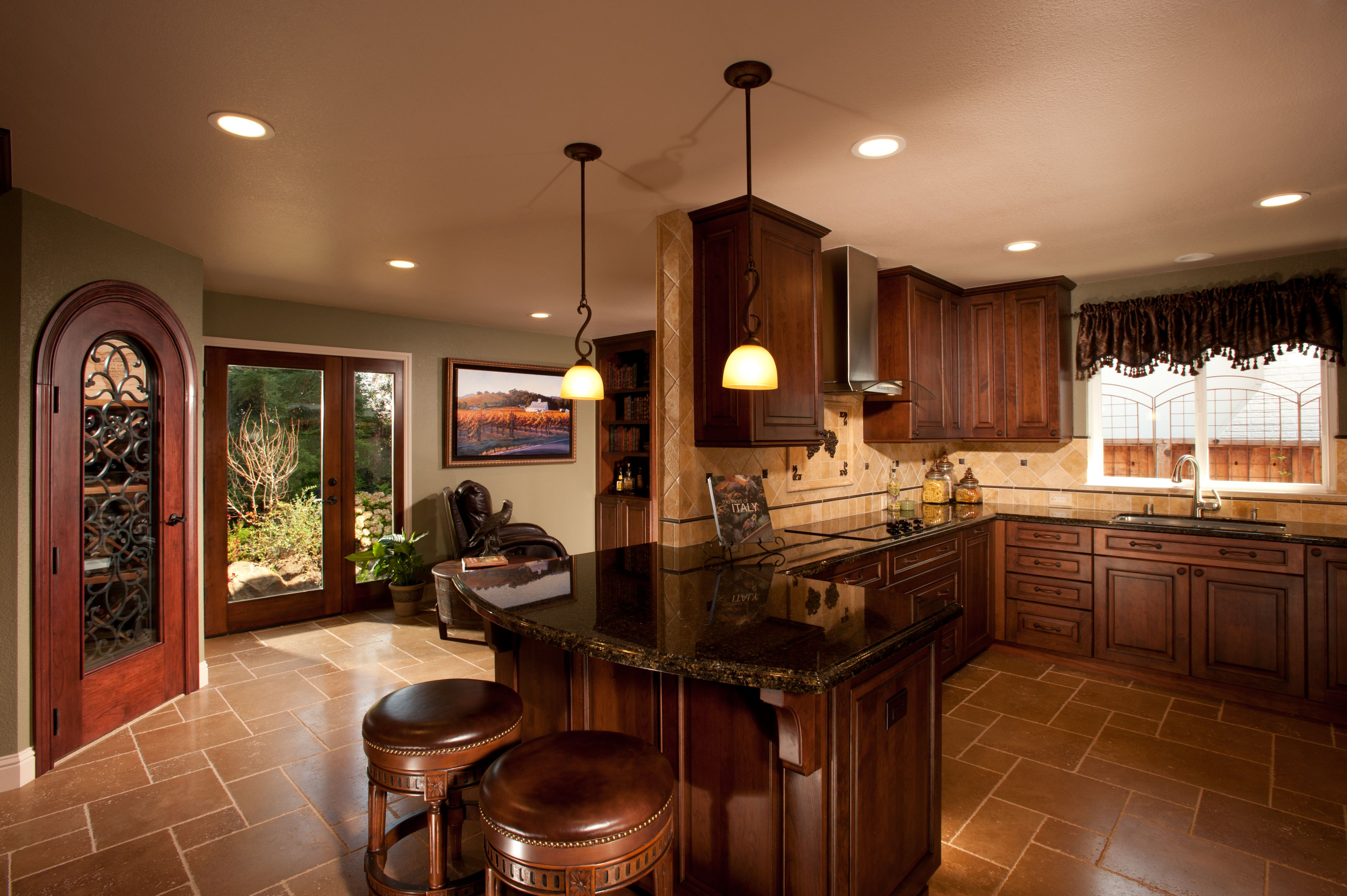 Dark Wood Country Kitchen tuscany inspired kitchen with california flavor. cabinets: dura