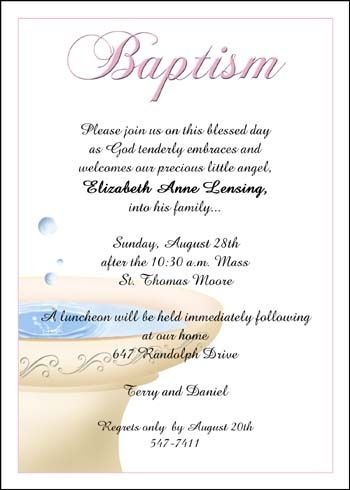 Baptism invitation wording samples and ideas for your Baptismal