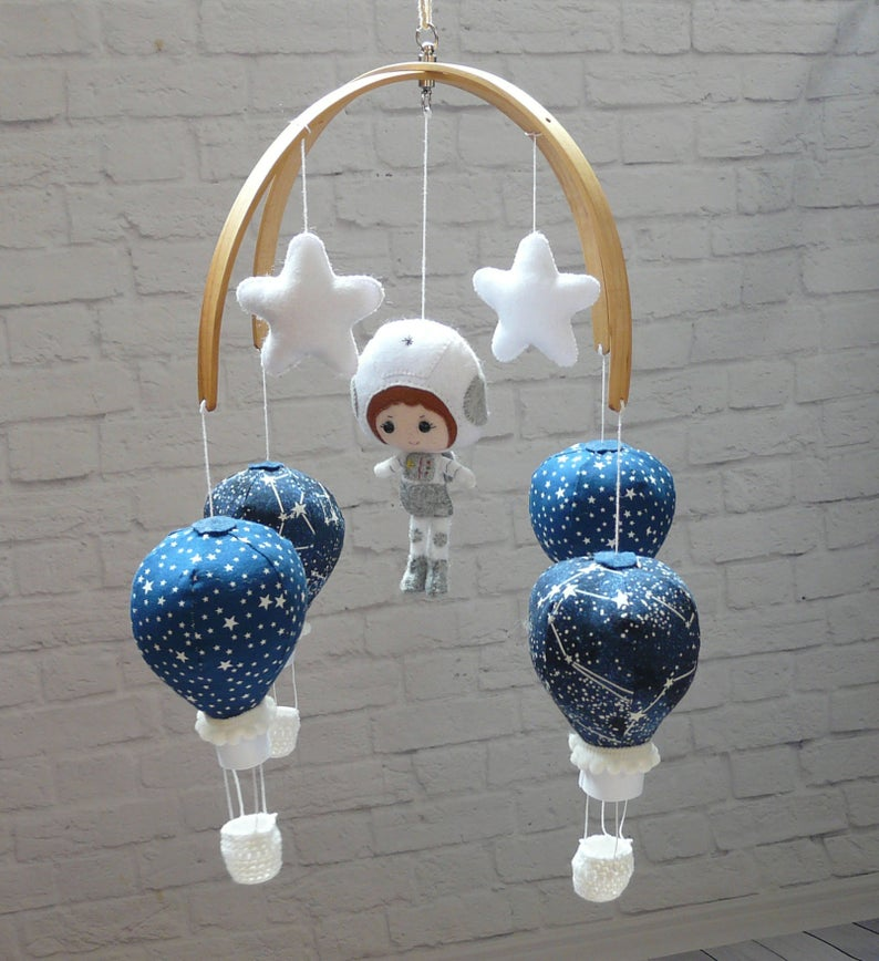 Space Nursery mobile, Hot Air Balloon baby mobile, Stars