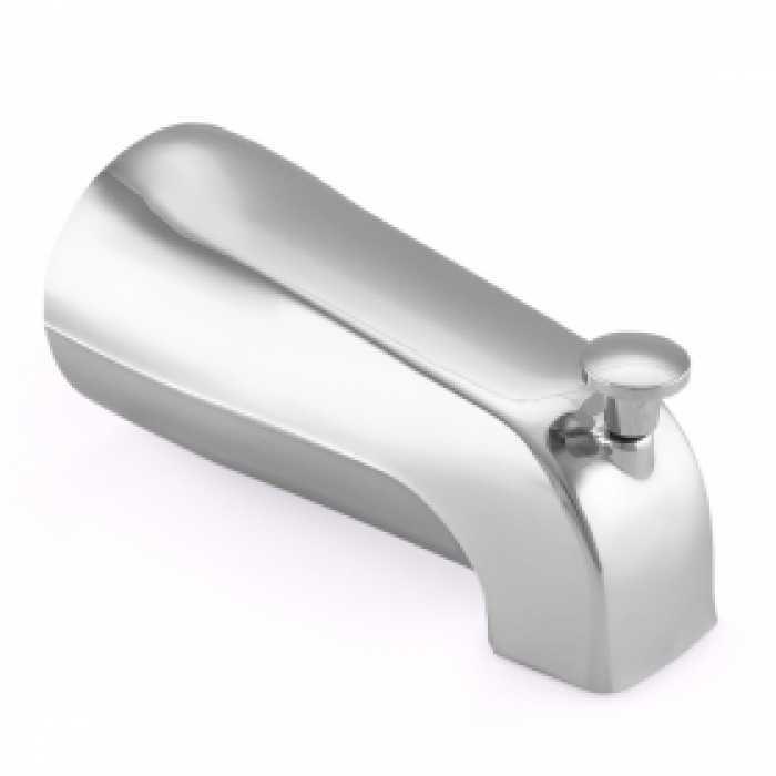 Long, FIP Nose Connection Tub Spout W/ Shower Diverter, Chrome Plated