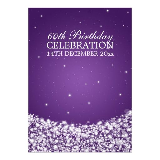 Elegant 60th birthday party star sparkle purple personalized invites elegant 60th birthday party star sparkle purple personalized invites filmwisefo Choice Image