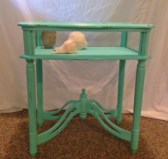 Shabby Chic Sea Glass End or Side Table Glass and Wood  on Etsy, $80.00