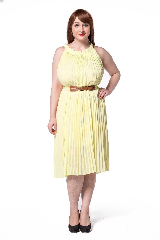Beautiful pleated summer chiffon sleeveless yellow casual beach