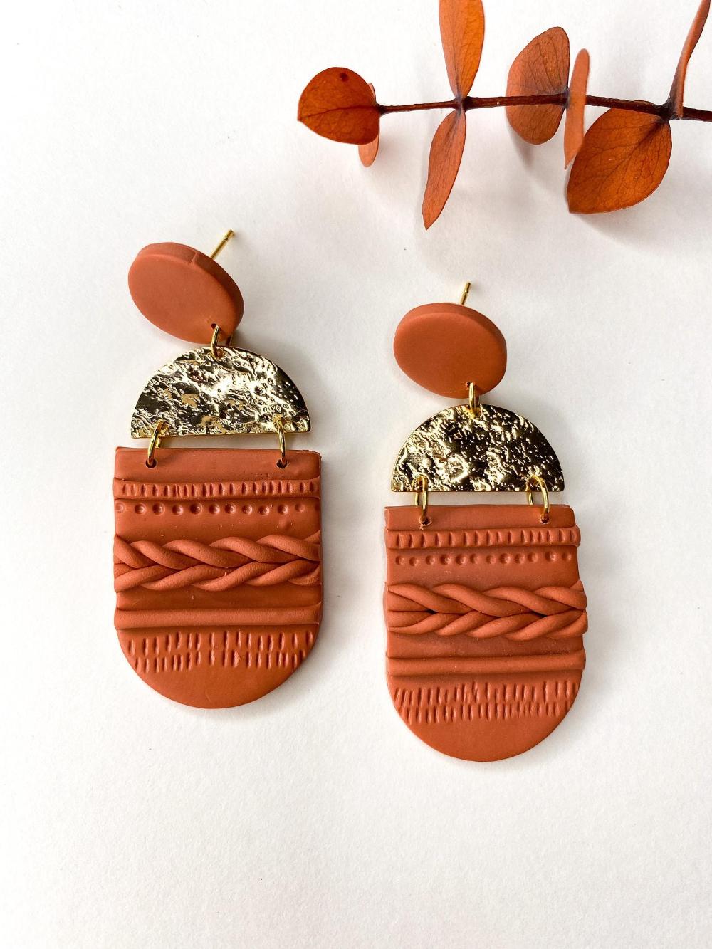 Handmade Polymer Clay Earrings  Lightweight Statement Earrings  Boho Jewelry