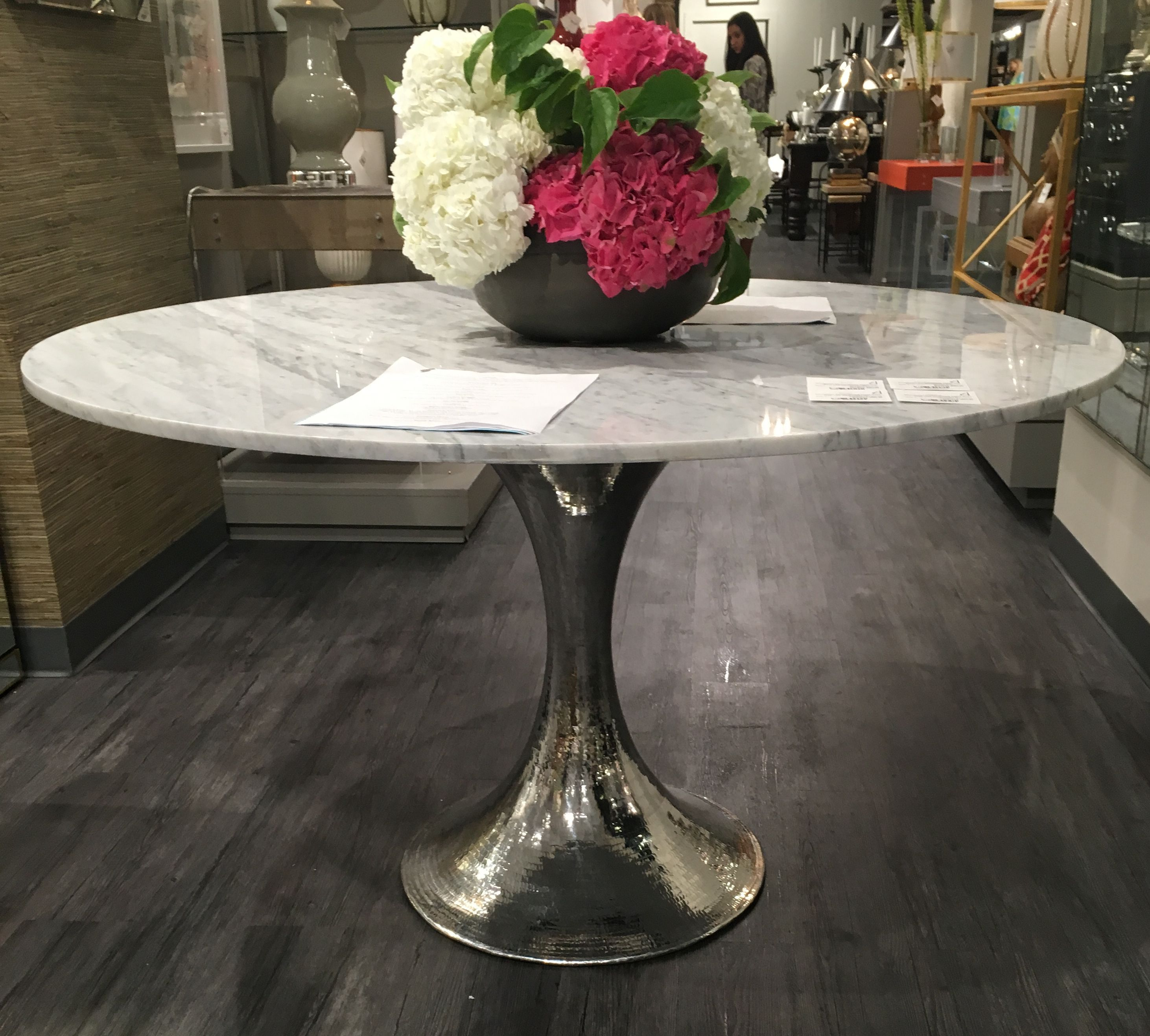 metal base dining table. 52\u201d Marble Dining Table With Hammered Metal Base - Mecox Gardens