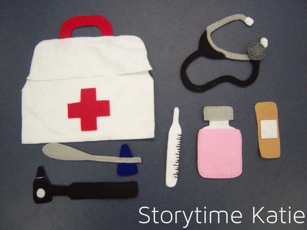 For sick storytime, I decided to make a felt doctor bag in the style ...