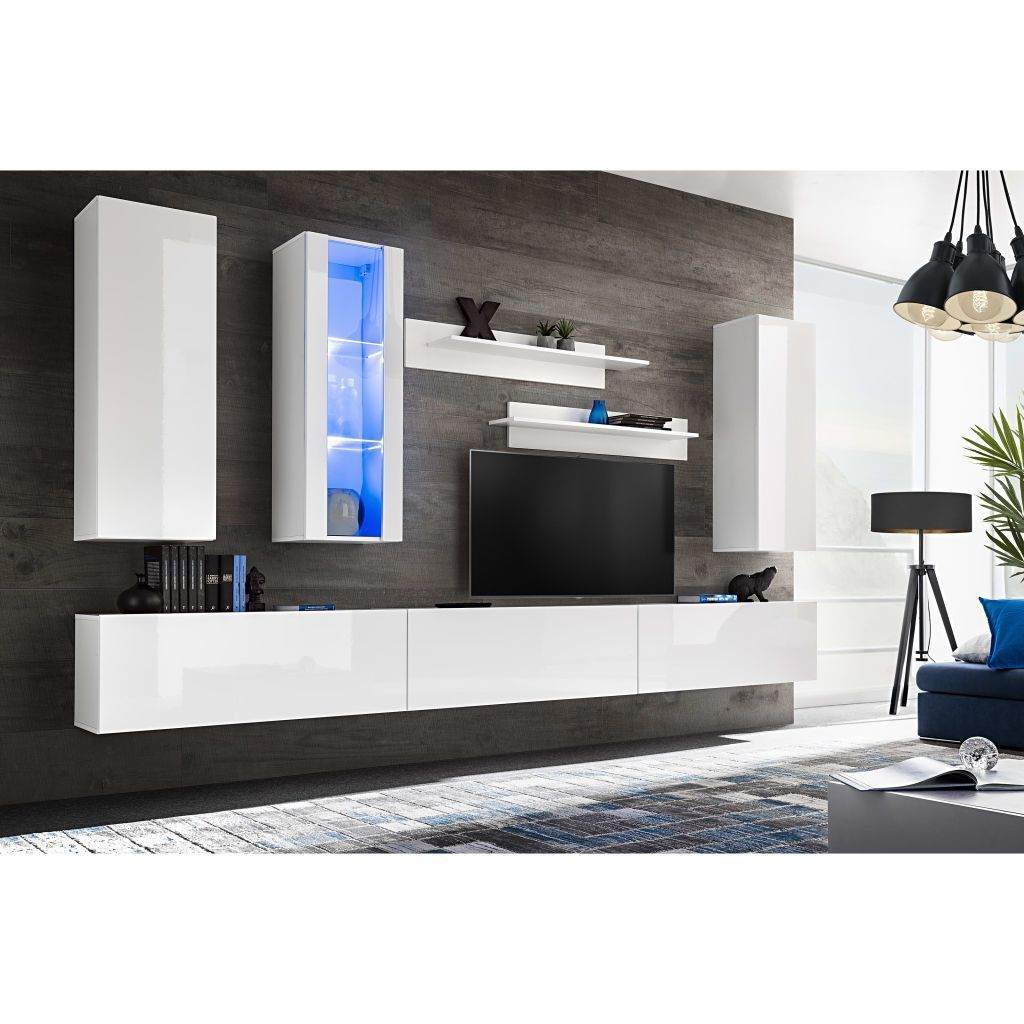 Wohnwand Mediawand 8 Tlg Wall 1 Schwarz Hochglanz H4home Contemporary Tv Wall Unit Set 8 Pieces With Led Lights High