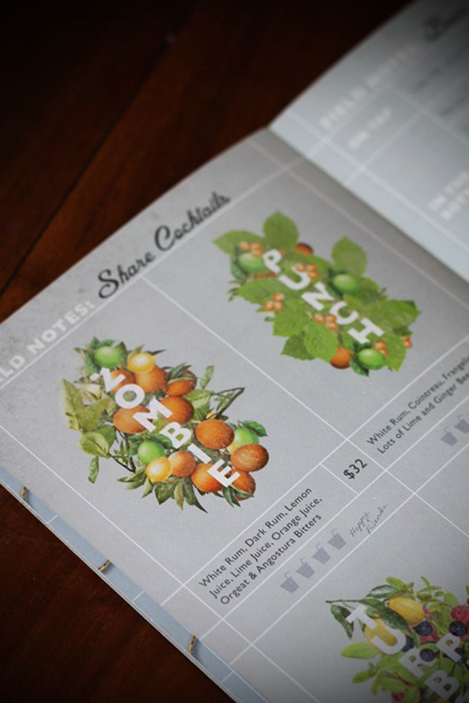 The Botanist Kirribilli illustrated drink menu