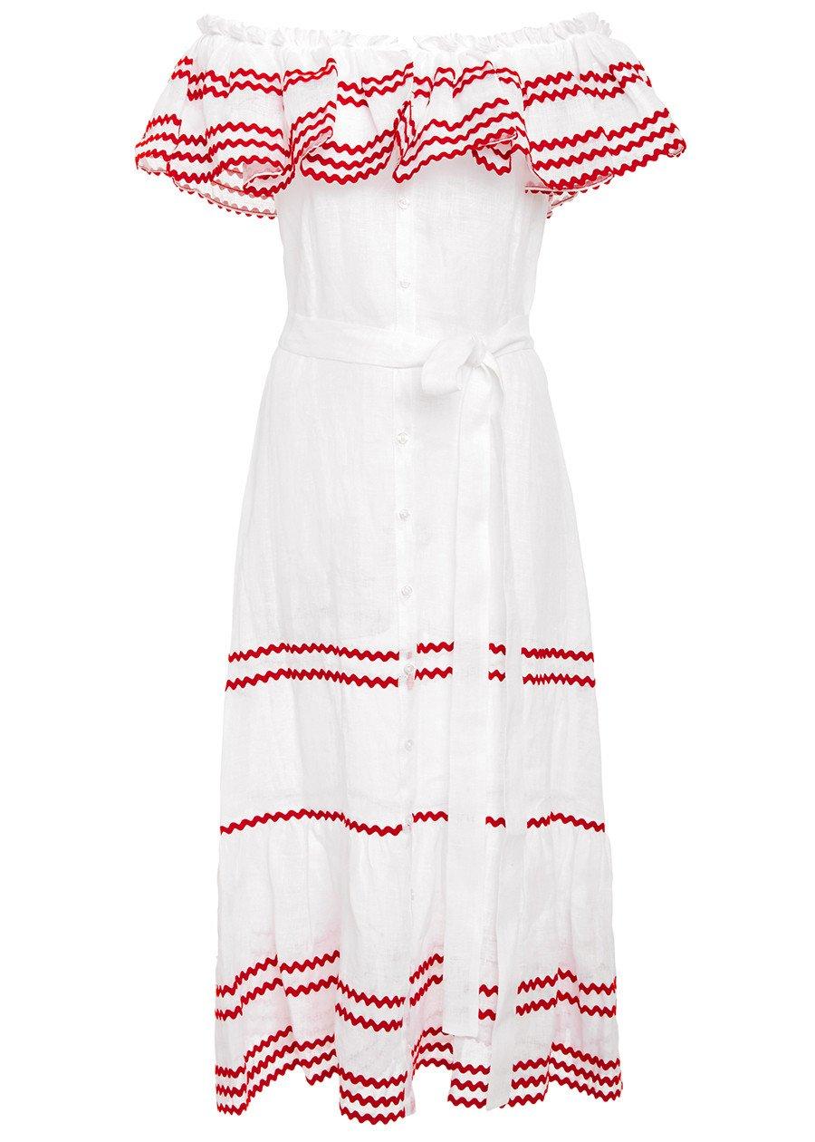 663d6c0417 LISA MARIE FERNANDEZ Mira Ruffled Button Down Dress (White Red ...