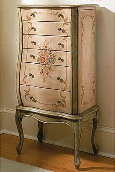 French Garden Jewelry Armoire (Powellu0027s) Has Romantic Country Look.  Hand Painted In Distressed White And Olive Green With Sprinklings Of  Flowers And Leaves ...