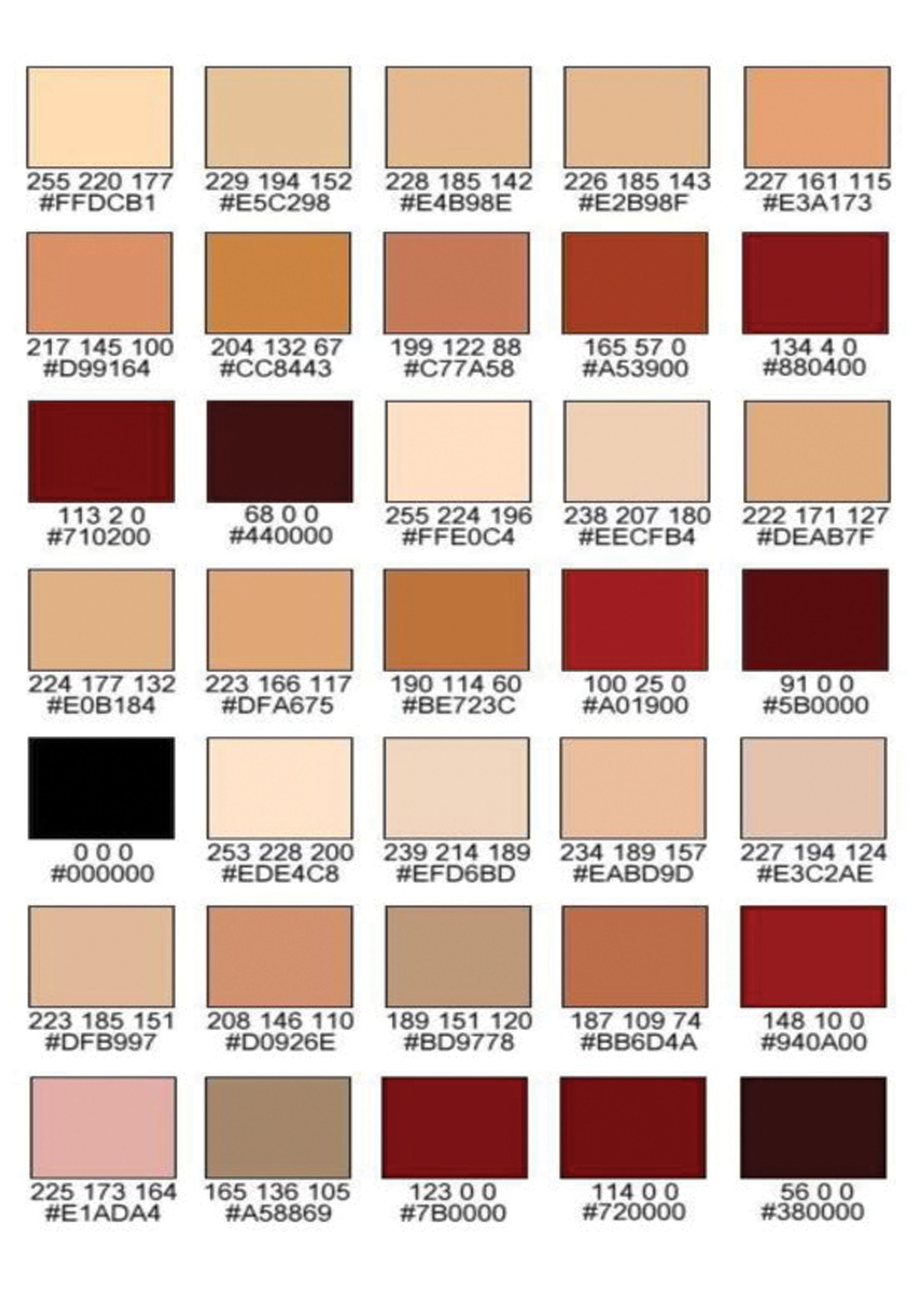 Pin By đinh Văn Nguyễn On Tutorial Study Skin Color Palette Rgb Color Codes Colors For Skin Tone
