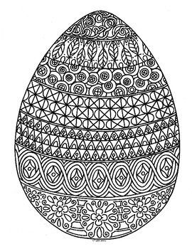 Spring Easter Egg Zentangle Coloring Page Spring Easter Eggs Easter Eggs Coloring Pages