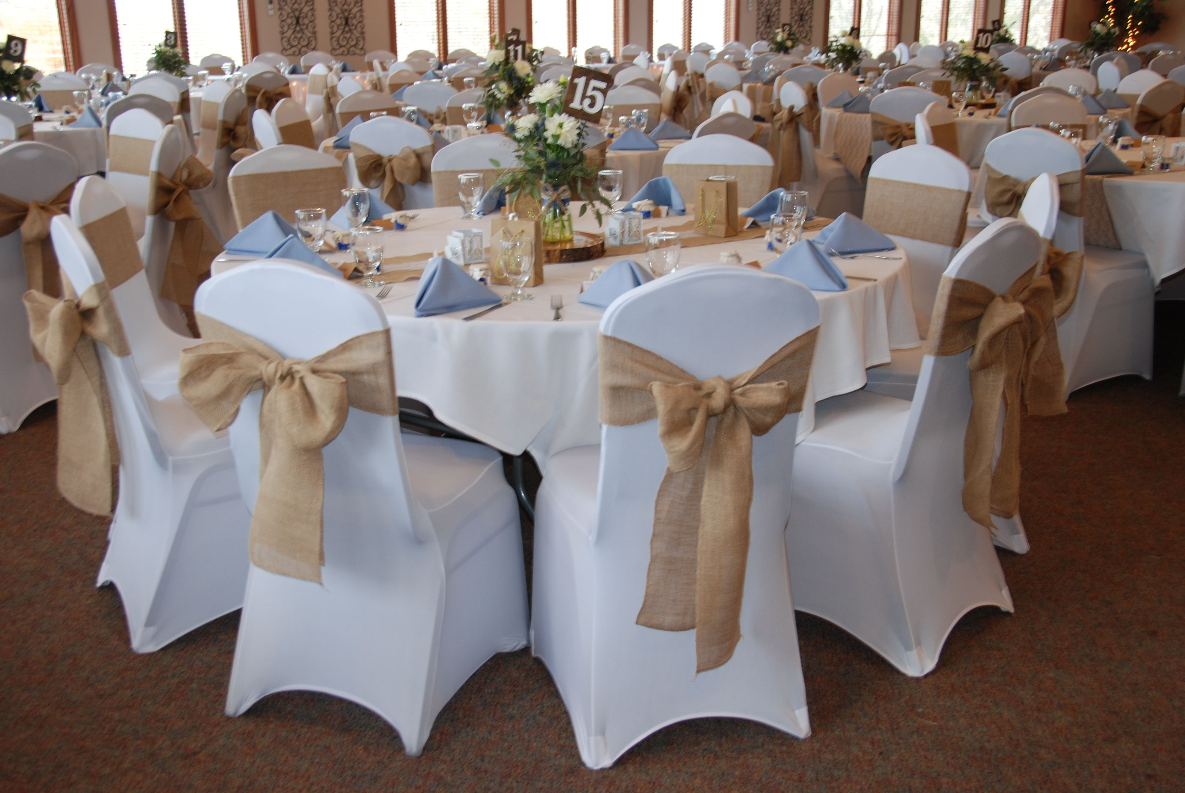 Cream Chair Covers For Weddings Cover Hire Reading Berkshire Burlap Runner And Sashes With White Spandex Light Blue Accent Color