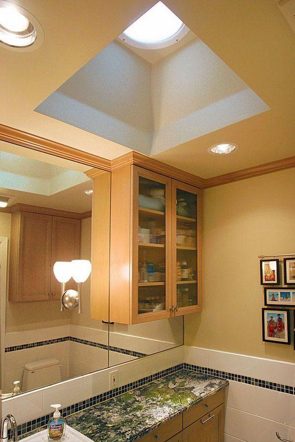 contemporary bathroom design lighting ideas tubular skylight wall ...