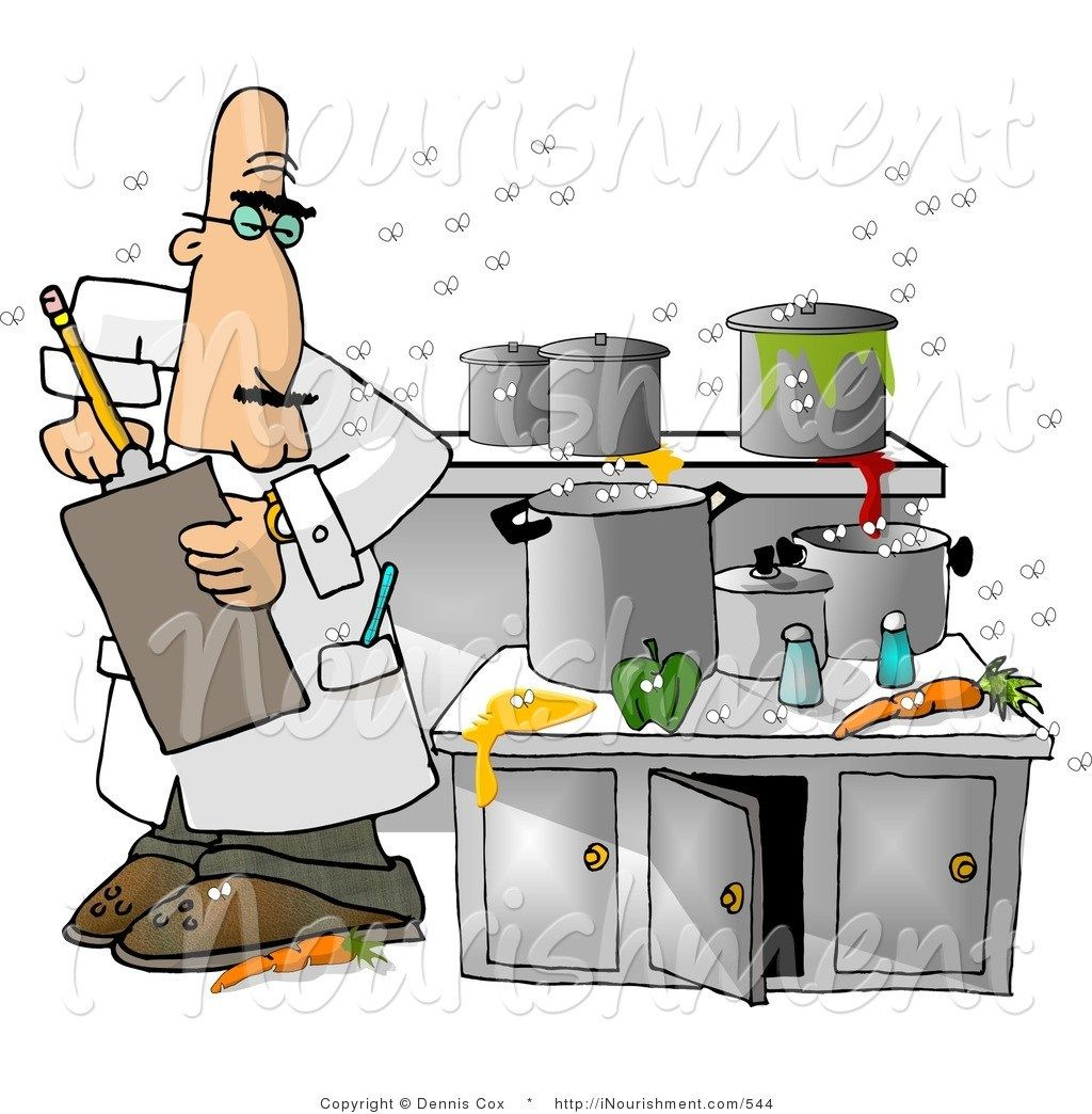 Messy Kitchen: Clipart Male Food Health Inspector Inspecting Dirty