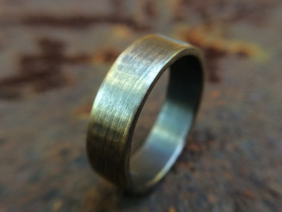 6mm Gold Brass Wedding Band In Rustic Brushed Gunmetal Finish Hand Forged Jewelry Wedding Bands Band