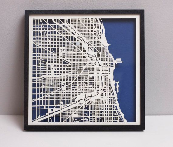 Chicago Laser Cut Map With Minimal Shadowbox Frame City Map - Artist creates ridiculously detailed paper cuts of city maps
