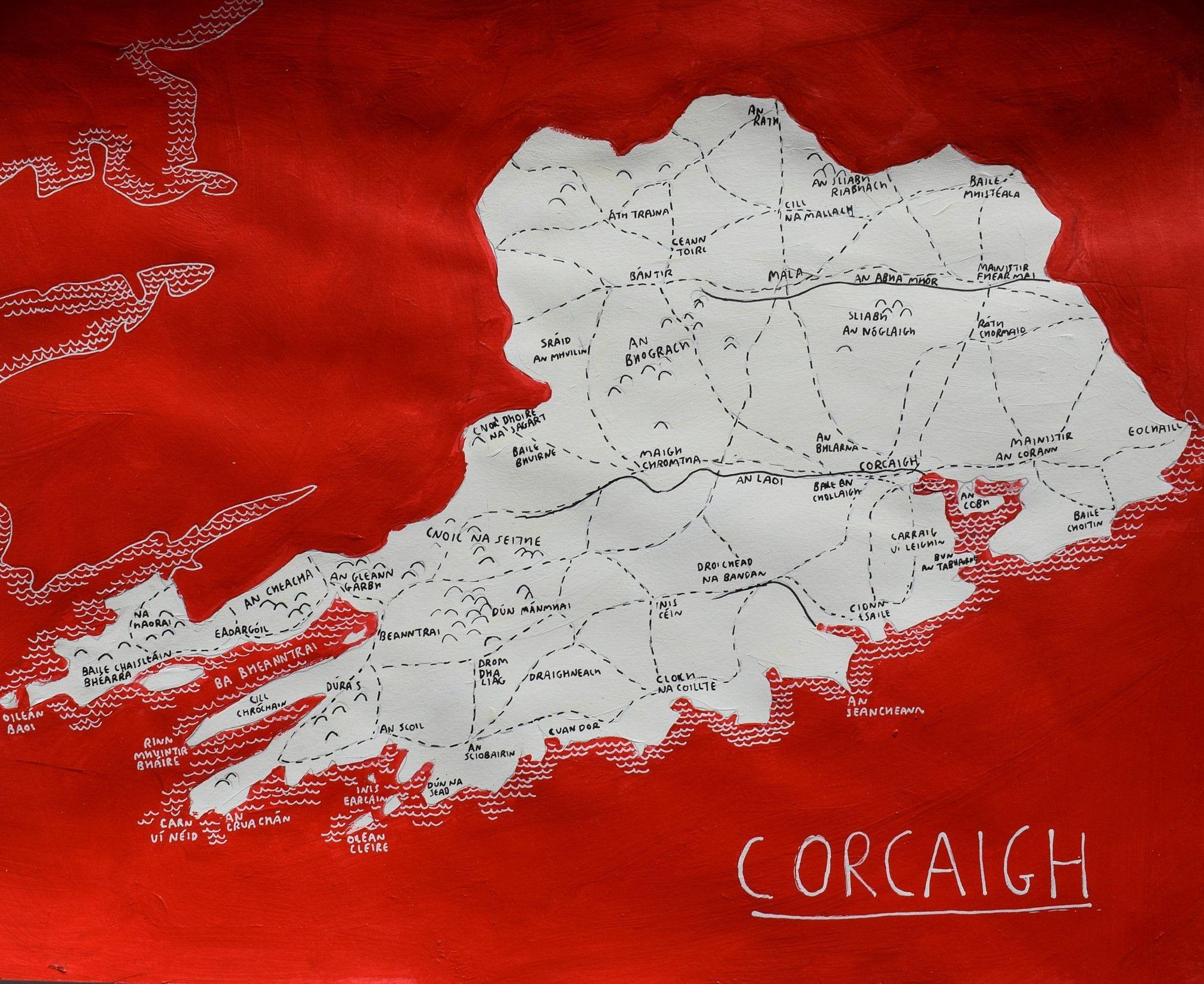 County Cork, Ireland map art | Irish County Maps | Map, County cork ...