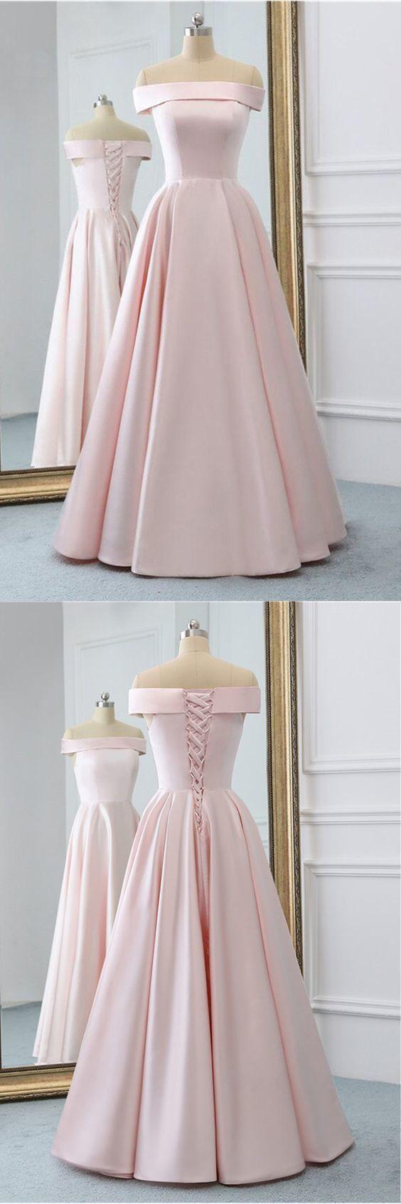 Rosa Satin Langes Abendkleid Mit Taschen, Rosa Abendkleider