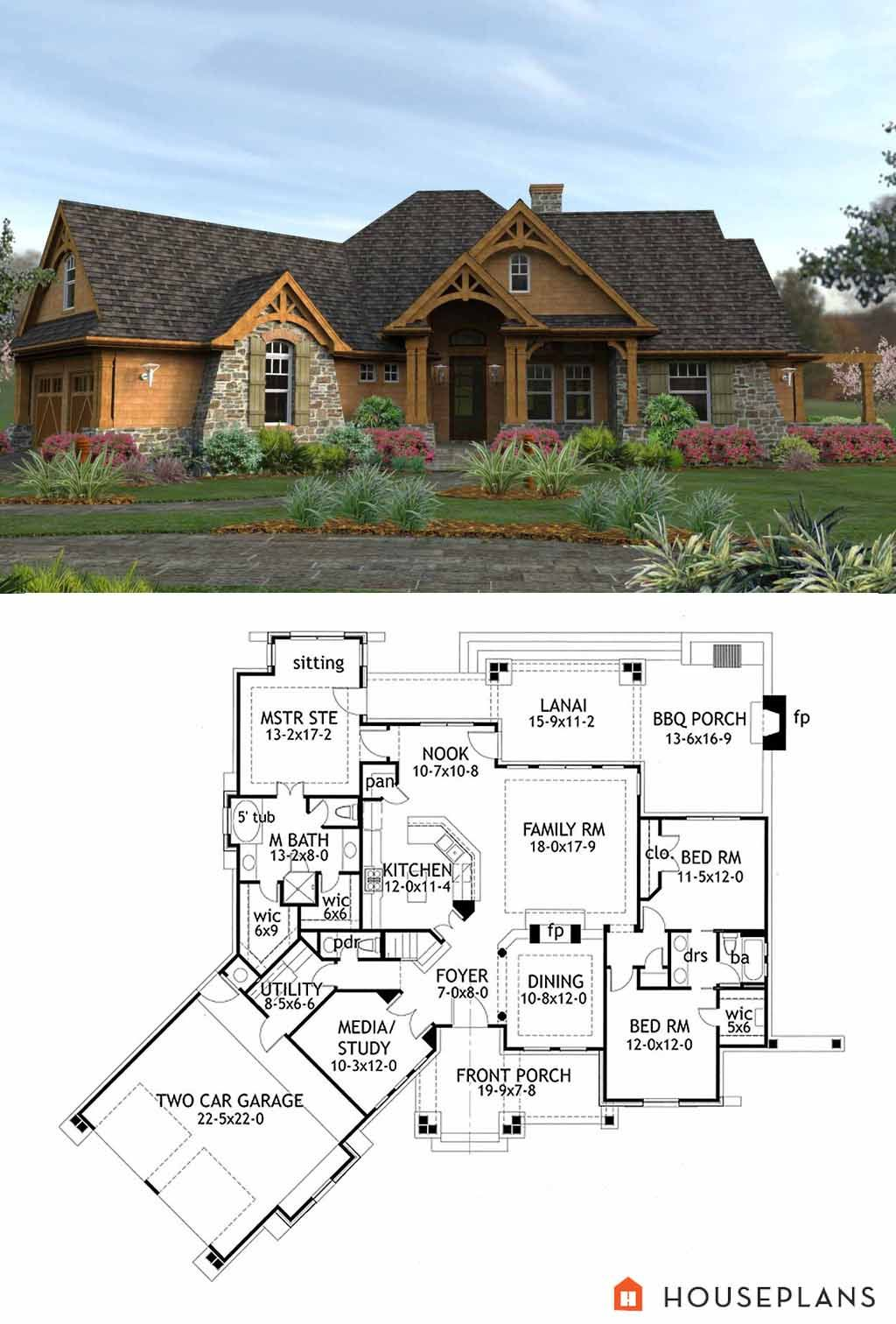 Craftsman Style House Plan 3 Beds 2 5 Baths 2091 Sq Ft Plan 120 162 Craftsman House Plans Craftsman House Designs Craftsman Style House Plans