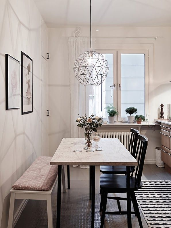 Kitchen And Dining Area Layout For A Small Apartment The Long Bench Combined With Wooden Cha Dining Room Small