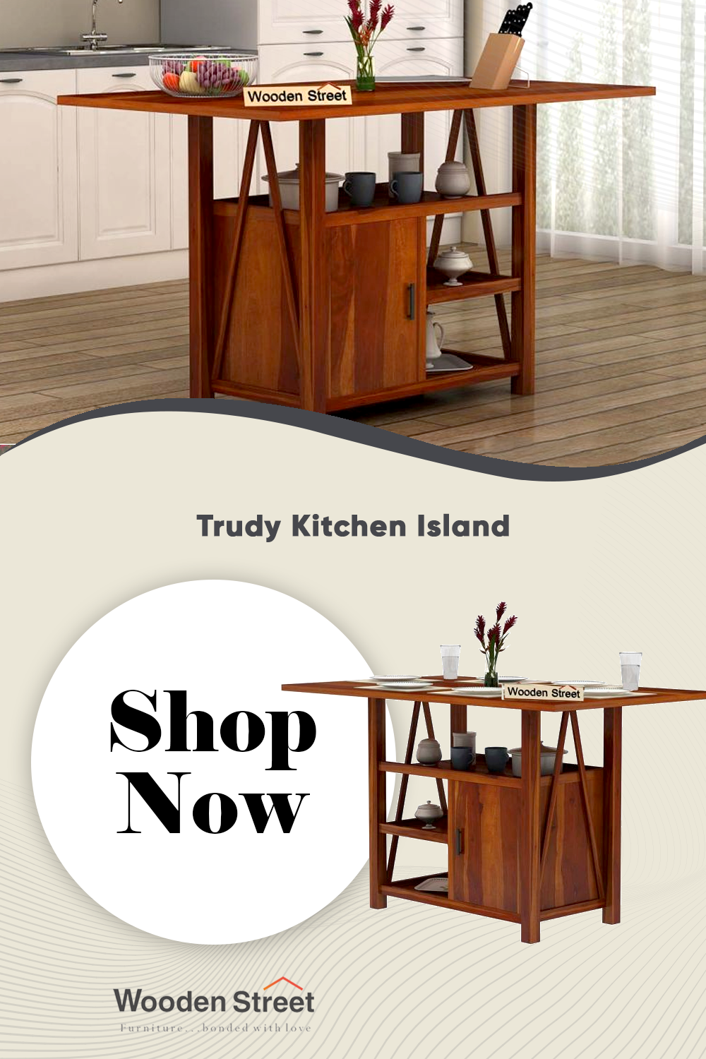 Buy Trudy Kitchen Island Online In India Wooden Street In 2021 Wooden Street Home Decor Dining Room Furniture