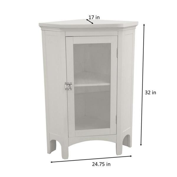Elegant Home Fashions Wilshire 27 7 8 In W X 32 In H X 16 1 8 In D Corner Bathroom Linen Storage Floor Cabinet In White Hd17077 The Home Depot In 2021 Bathroom Corner