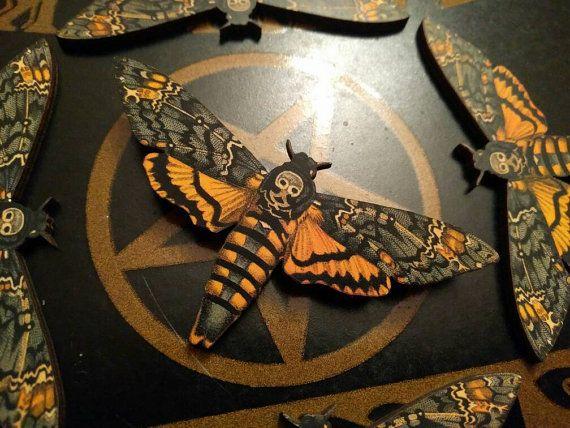 Acherontia atropos - Deaths Head Hawk Moth Wooden Brooch Laser cut wood, with vintage style appliqué Measures 92x46mm  Metal pin has a safety