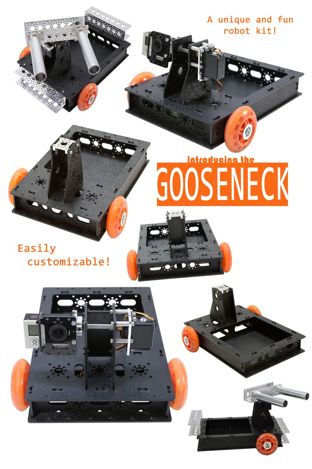 The Gooseneck™ is a great little trail-wheel robot kit that glides ...