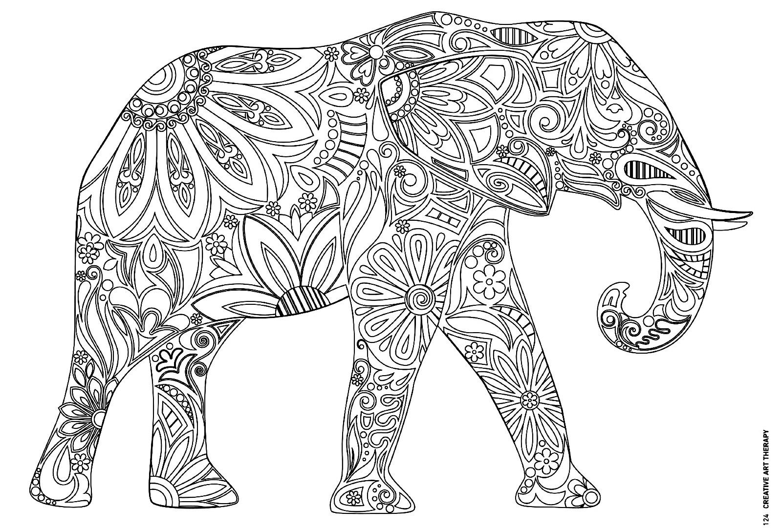 Printable Art Therapy Elefants - Worksheet & Coloring Pages