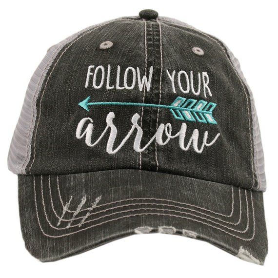 Follow Your Arrow Mint Blue Teal Turquoise Grey Black Trucker Ball ... a174d00b67