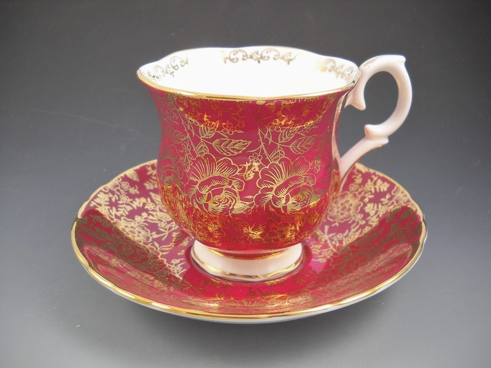 Crown Staffordshire England White, Red, Gold Accented H114 Tea Cup and Saucer #CrownStaffordshire