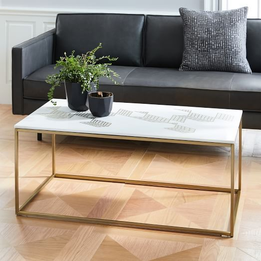 Box Frame Coffee Table Marble Antique Bronze Coffee Table
