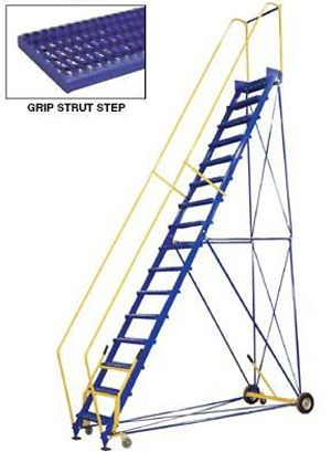 Steel Rolling Warehouse Ladders Are Finally An Easy And Safe Solution For Reaching Products On High Shelves Each Ladde Rolling Ladder Ladder Industrial Stairs