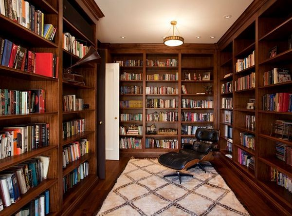 Dark Wood, But Add Two Plush, Comfortable Chairs, And A Floor Lamp   · Home  Library ...