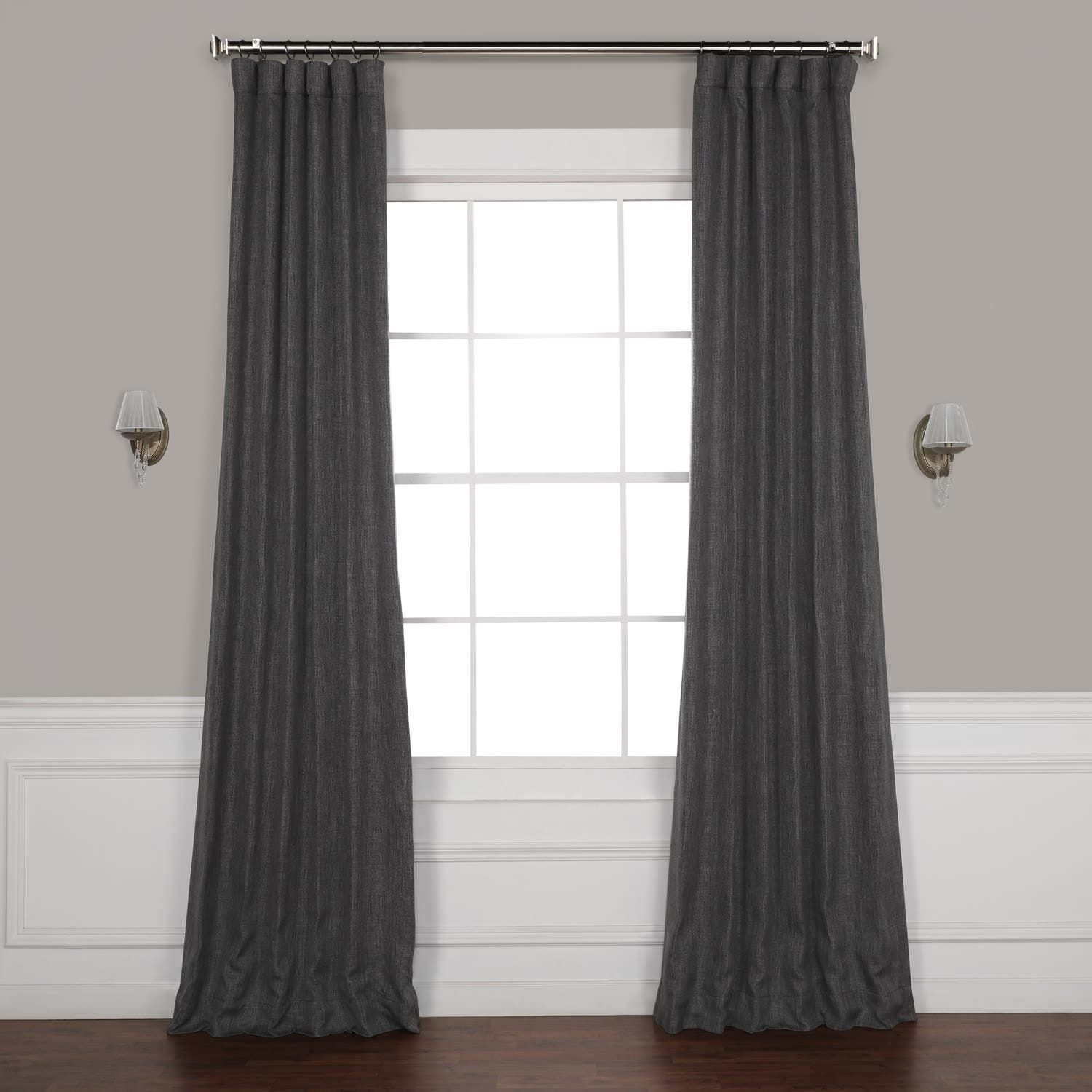 Exclusive Fabrics Faux Linen Blackout Curtain 50 X 84 Dark