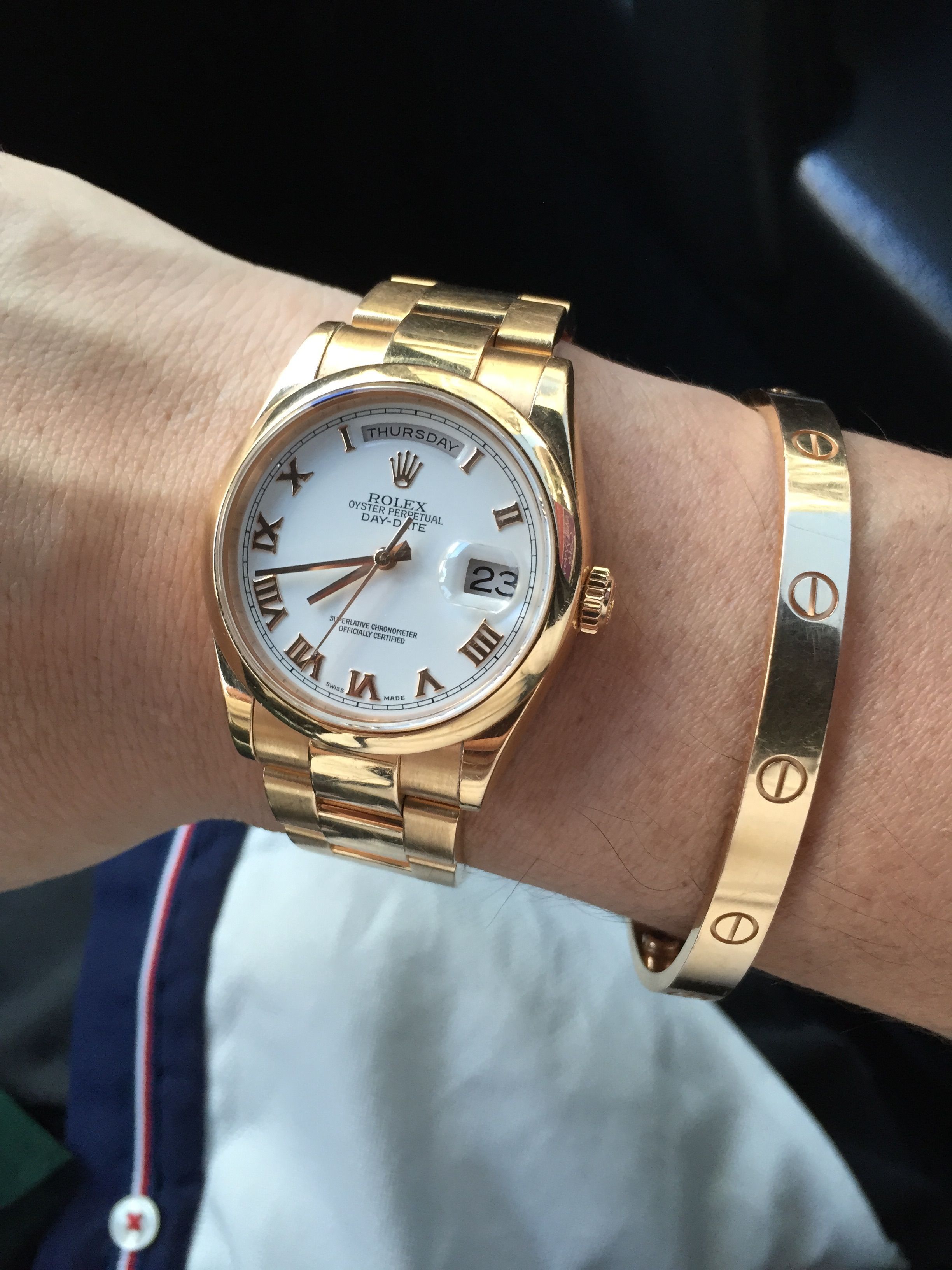 0bb3057c263 Rolex Day Date Rose Gold Oyster Strap Cartier Love Bracelet in Rose Gold