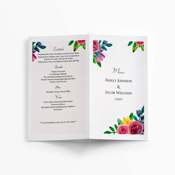 Wedding menu template Watercolor floral Folded by CardsForWedding - microsoft word restaurant menu template