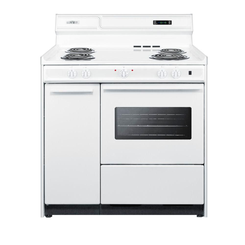 Summit Appliance 36 In 2 9 Cu Ft Electric Range In White Wem430kw The Home Depot White Kitchen Appliance Packages Gas Range Cookware Storage