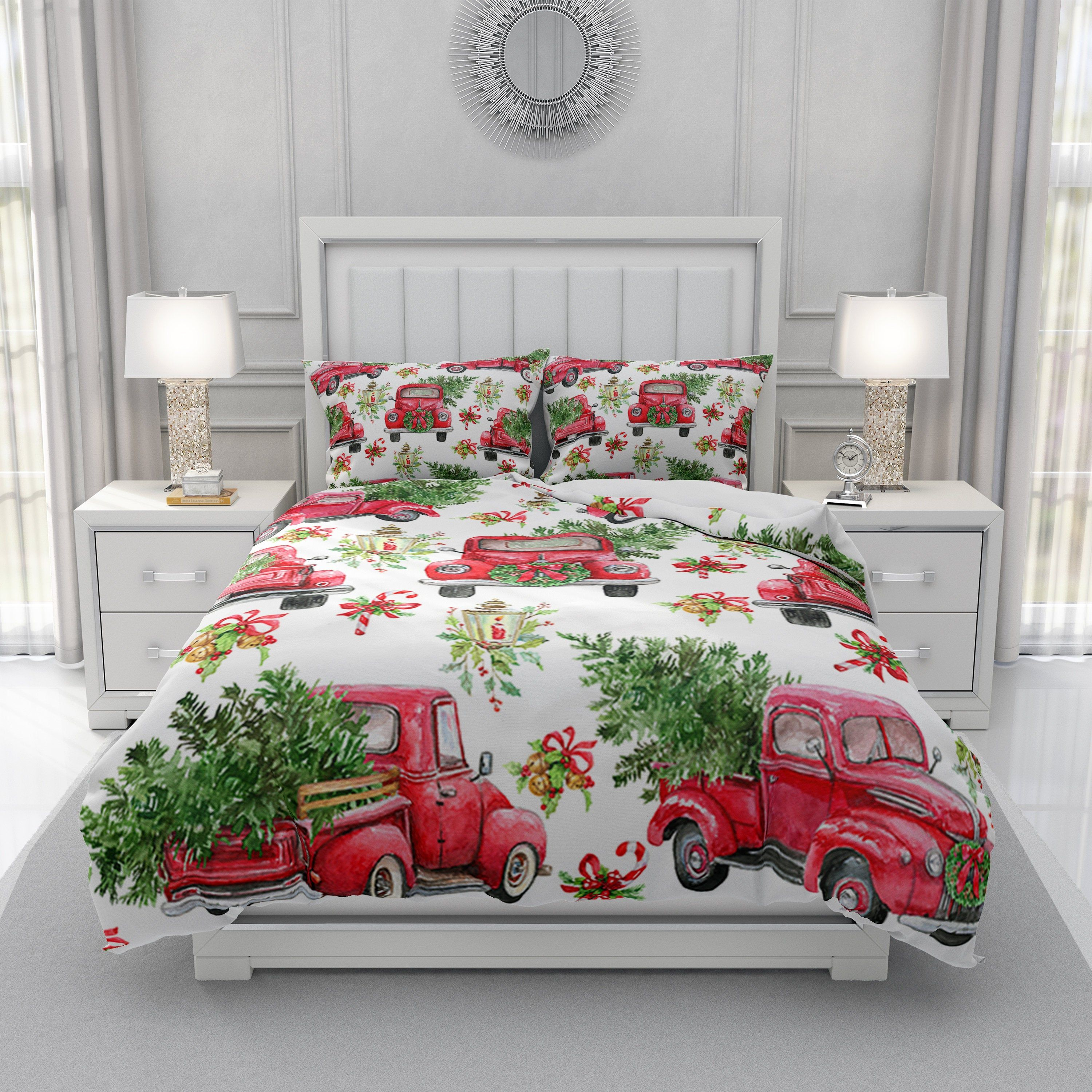 Christmas Bedding Set, Red Truck With Christmas Trees