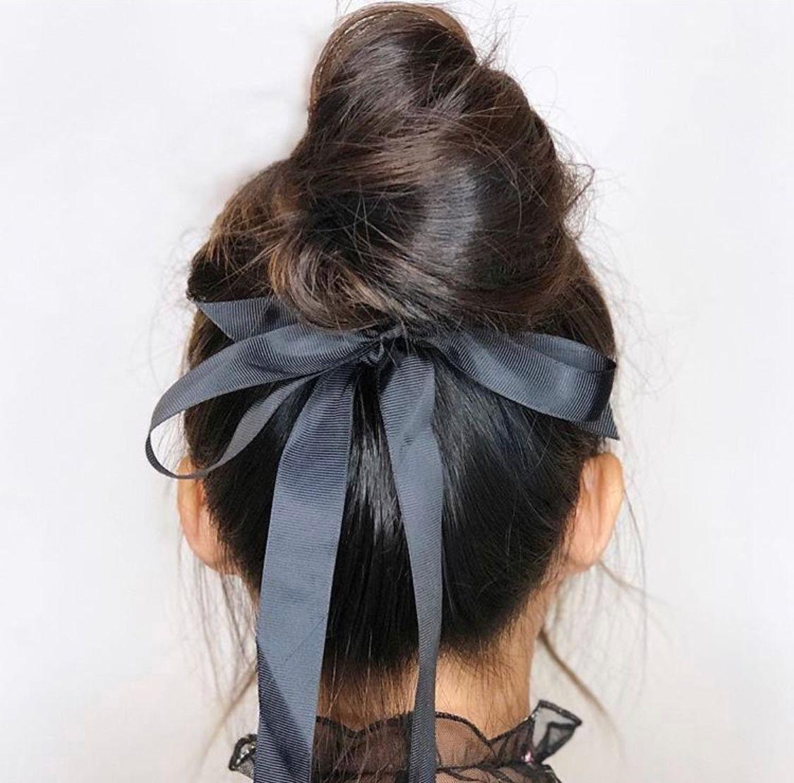 dark brown black bow updo bun short | hairstyles in 2019