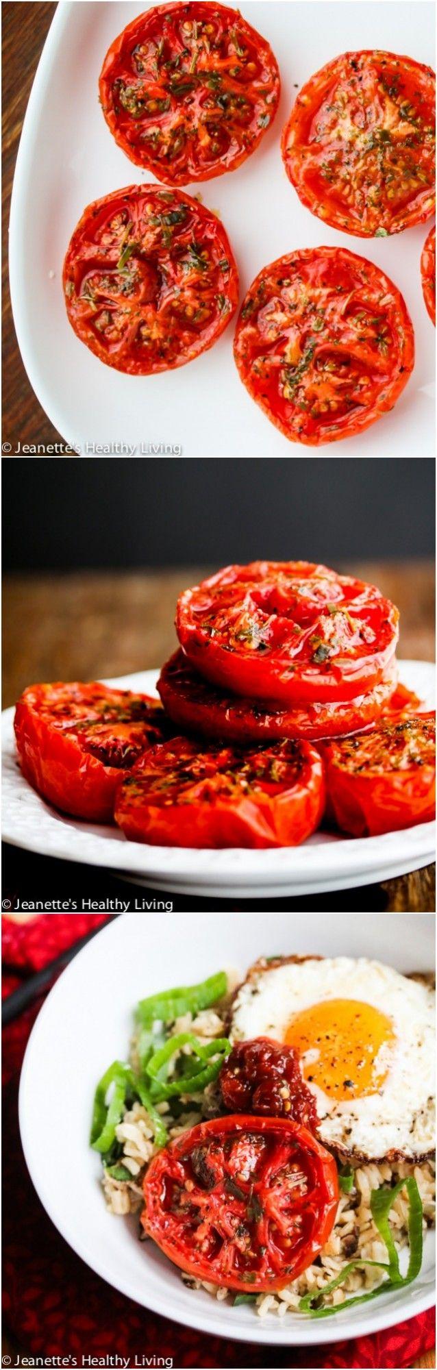 Slow Roasted Summer Tomatoes © Jeanette's Healthy Living #tomatoes #vegetarian #vegan #reciperedux