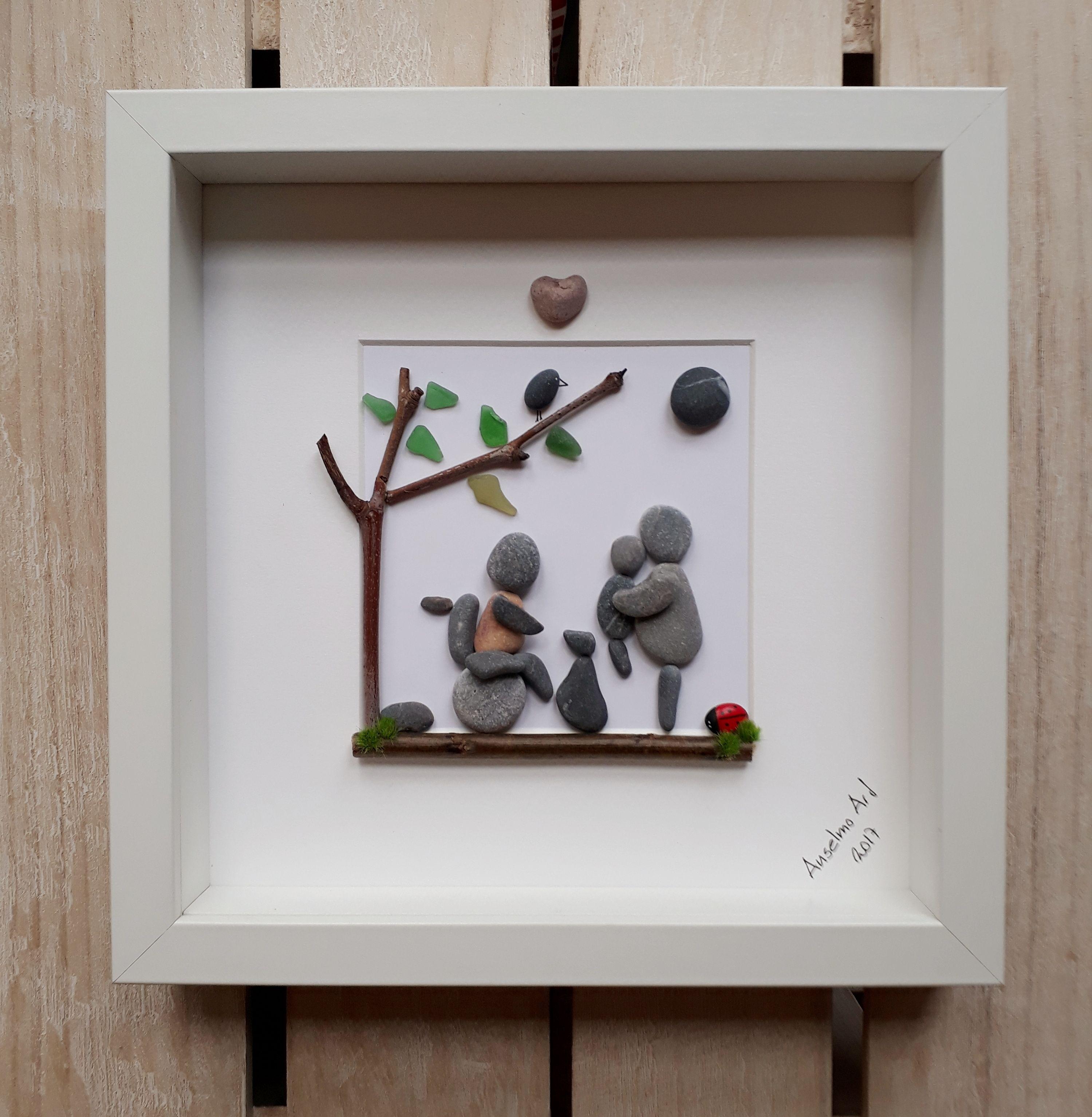 Family Love Pebblepicture Pebbleart Pebble Wheelchair Anselmopebbleart Pebble Art Family Stone Crafts Pebble Art