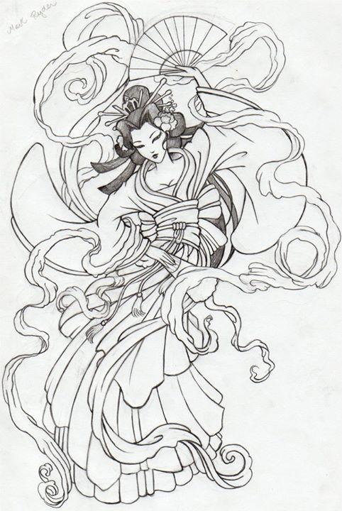 By Deborah Soares Gueicha Desenho Tatuagem De Gueixa Desenho