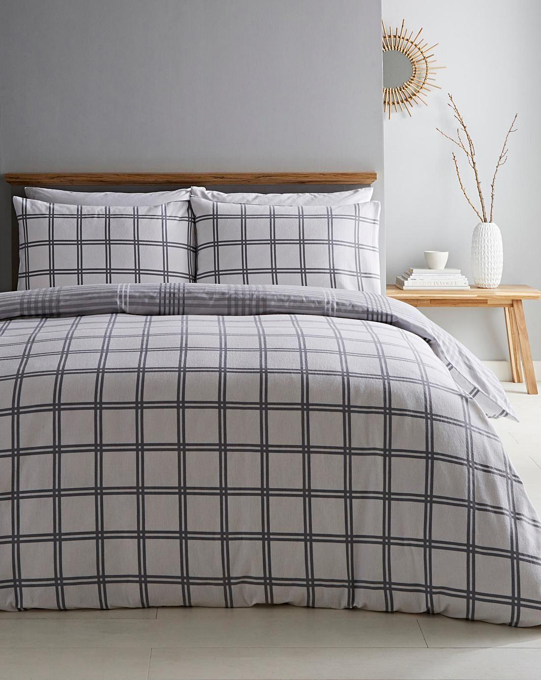 Sabana Edward Check Brushed Duvet Set Duvet Sets Redecorate Bedroom Duvet Cover Sets