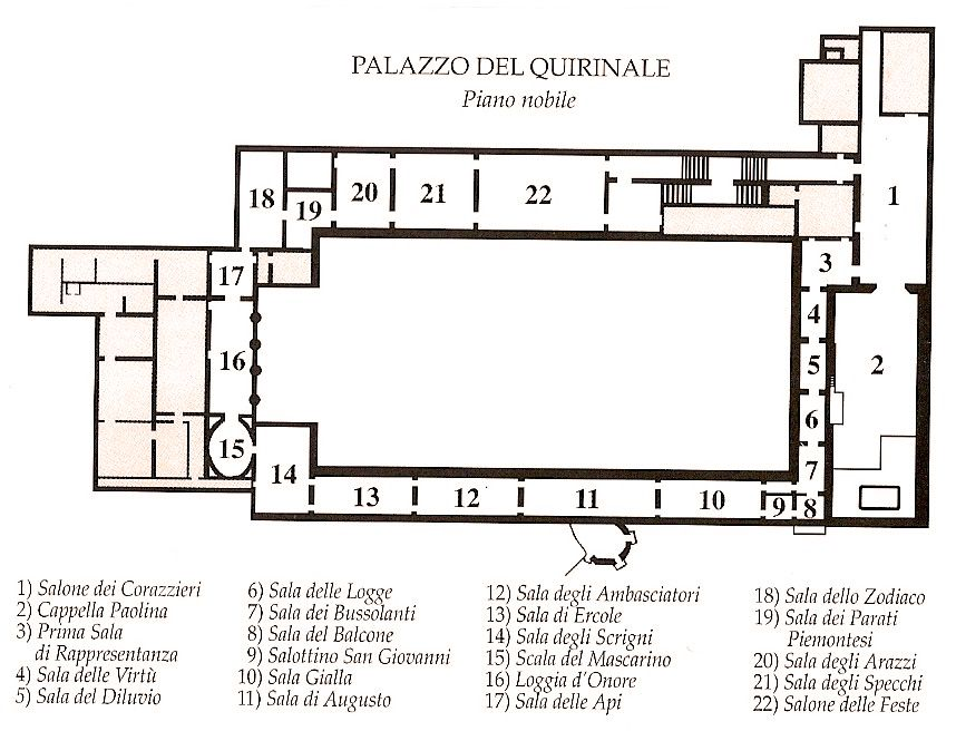 Piano Nobile First Floor Plan Palazzo Quirinale From 1870 Until 1946 It Was The Official Residence Of The Kings Of It Floor Plans How To Plan King Of Italy